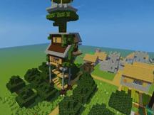 我的世界生存建筑小树屋制作